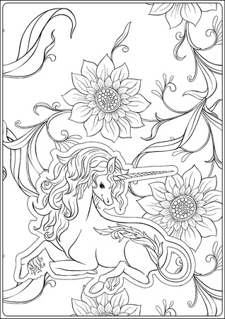 Unicorn and fantastic vintage flowers. Vector illustration. In art nouveau style, vintage, old, retro style. Outline hand drawing. Good for coloring page for the adult coloring book.