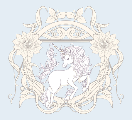 Unicorn and fantastic vintage flowers. Vector illustration. Ilustração