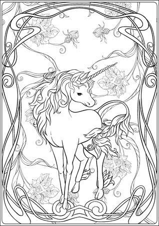 Unicorn and fantastic vintage flowers. Vector illustration. In art nouveau style, vintage, old, retro style. Outline hand drawing. Good for coloring page for the adult coloring book. 版權商用圖片 - 110347503