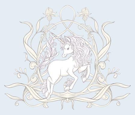Unicorn and fantastic vintage flowers. Vector illustration.