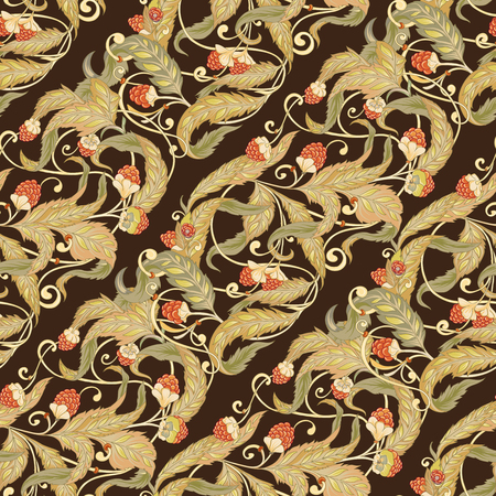 Nahtloses Muster mit Blumen und Himbeeren Im Jugendstil, Vintage, Alt, Retro-Stil. Bunte Vektorillustration auf Lager. Auf schwarzem, dunkelbraunem Hintergrund