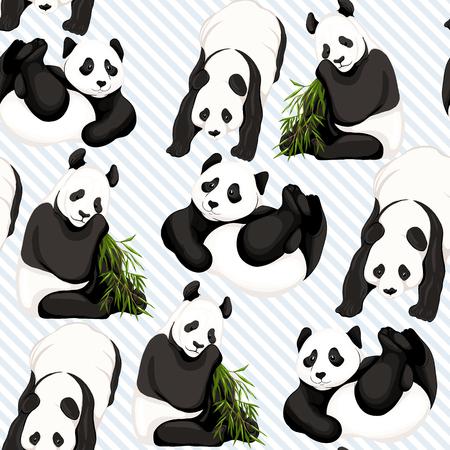 Seamless pattern, background. with pandas and bamboo. 일러스트