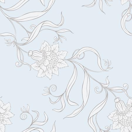Patrón floral transparente, fondo en estilo art nouveau,
