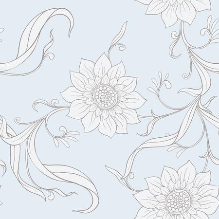 花のシームレスなパターン、背景アールヌーボースタイルで、