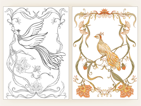 Poster, background and decorative flowers and bird in art nouveau style, vintage, retro style. Vector illustration. Outline hand drawing. Good for coloring page for the adult coloring book with colored sample