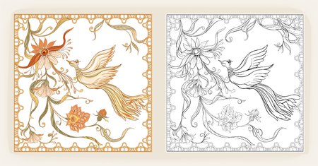 Poster, background and decorative flowers and bird in art nouveau style, vintage, retro style. Vector illustration. Outline hand drawing. Good for coloring page for the adult coloring book with colored sample Vector Illustration