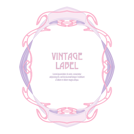 Label for products or cosmetics in art nouveau style, vintage, old, retro style. Vector Illustration