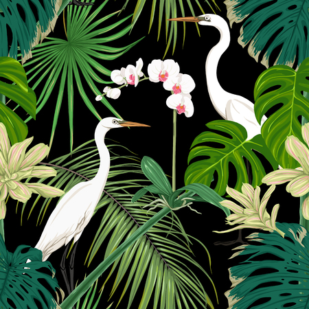 Seamless pattern, background. with tropical plants and flowers with white orchid and tropical birds. Colored vector illustration without gradients and transparency. Isolated on black background.  イラスト・ベクター素材
