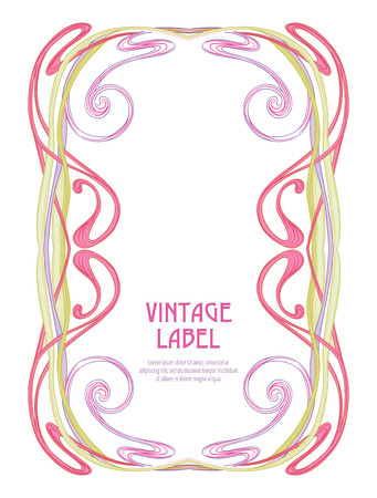 Label for products or cosmetics in art nouveau style, vintage, old, retro style.