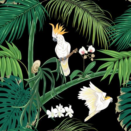 Naadloze patroon, achtergrond. met tropische planten en bloemen met witte orchidee en tropische vogels. Gekleurde vectorillustratie zonder hellingen en transparantie. Geïsoleerd op zwarte achtergrond. Vector Illustratie