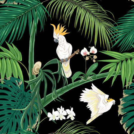 Seamless pattern, background. with tropical plants and flowers with white orchid and tropical birds. Colored vector illustration without gradients and transparency. Isolated on black background. Vektorové ilustrace