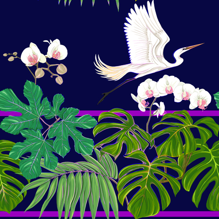 Seamless pattern, background. with tropical plants and flowers with white orchid and tropical birds. Colored vector illustration in neon, fluorescent colors on black, dark blue background