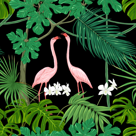 Seamless pattern, background. with tropical plants and flowers with white orchid and tropical birds. Colored vector illustration without gradients and transparency. Isolated on black background. Illustration