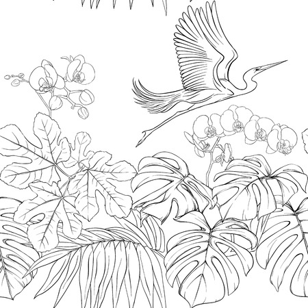 Seamless pattern, background. with tropical plants and flowers with white orchid flowers and tropical birds. 写真素材 - 107699241