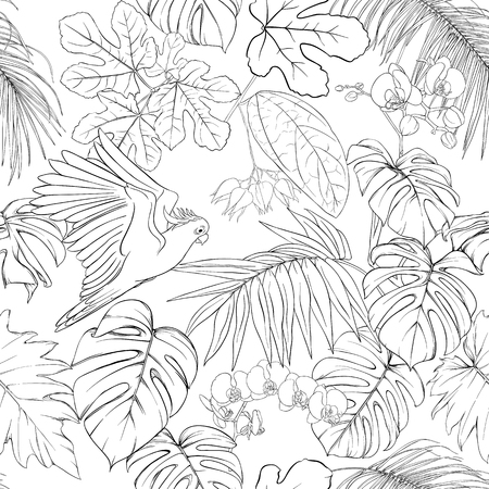 Seamless pattern, background. with tropical plants and flowers with white orchid and tropical birds. Outline hand drawing vector illustration.