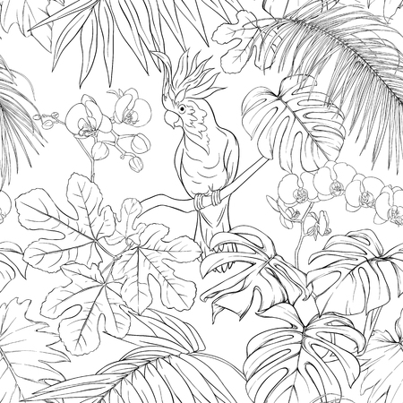 Seamless pattern, background. with tropical plants and flowers with white orchid and tropical birds. Outline hand drawing vector illustration. Illustration