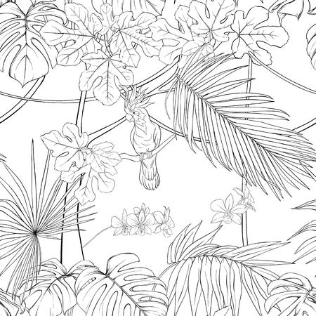 Patrón sin costuras, fondo. con plantas tropicales y flores con orquídeas blancas y aves tropicales. Ilustración de vector de dibujo a mano de contorno. Ilustración de vector