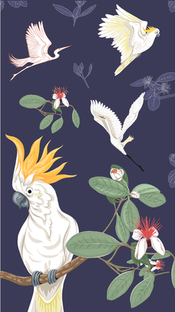 Pattern, background with with feijoa flowers with herons and cockatoo parrot. Vector illustration.  On dark blue background. Colored and outline design. Illustration