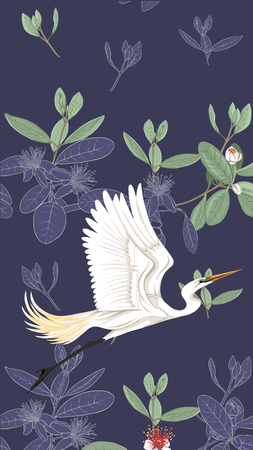 Pattern, background with with feijoa flowers with herons Vector illustration.  On soft blue background. Colored and outline design.