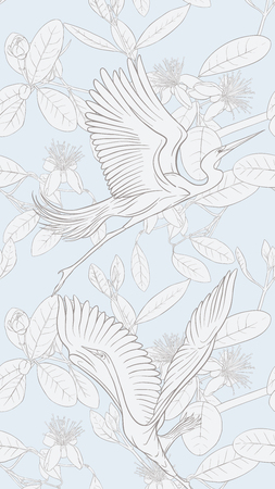 Pattern, background with with feijoa flowers with herons. Vector illustration.  Outline drawing on soft blue background. Imagens - 107699550