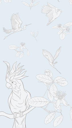 Pattern, background with with feijoa flowers with herons and cockatoo parrot. Vector illustration.  Outline drawing on soft blue background.