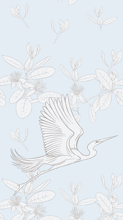 Pattern, background with with feijoa flowers with herons. Vector illustration.  Outline drawing on soft blue background.