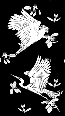 Pattern, background with with feijoa flowers with herons and cockatoo parrot. Vector illustration.  Black-and-white graphics.