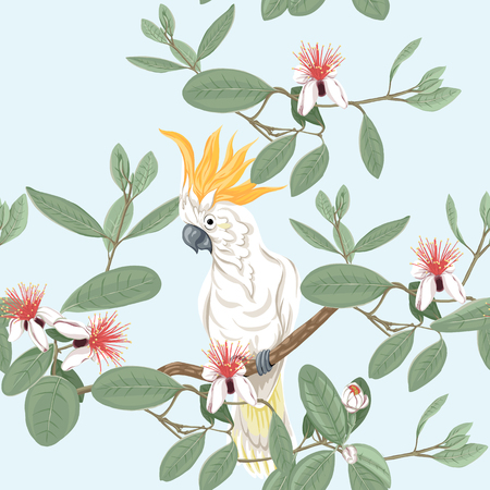 Seamless pattern, background with floral pattern with feijoa blooming flowers  and cockatoo parrot. Vector illustration without gradients and transparency.  On blue background.