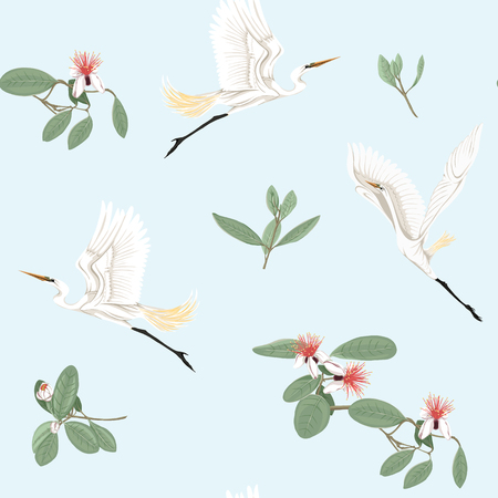 Seamless pattern, background with floral pattern with feijoa blooming flowers and herons. Vector illustration without gradients and transparency.  On blue background. Illustration