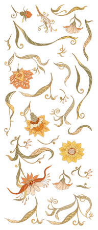 Set of floral decorative elements In art nouveau style, vintage, old, retro style. Isolated on white background. Vector illustration. Çizim