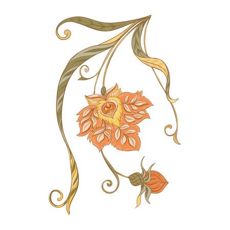 Blumendekorelemente Im Jugendstil, Vintage, alt, Retro-Stil. Auf weißem Hintergrund isoliert. Vektorillustration.