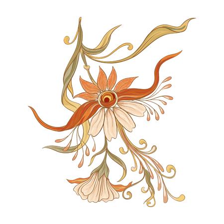 Elementi decorativi floreali In stile art nouveau, vintage, vecchio, stile retrò. Isolato su sfondo bianco. Illustrazione vettoriale. Vettoriali