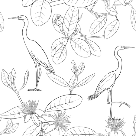 Seamless pattern, background with floral pattern with feijoa blooming flowers and herons. Vector illustration without gradients and transparency.  Outline drawing.