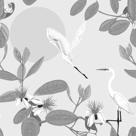 Seamless pattern, background with floral pattern with feijoa blooming flowers and herons. Vector illustration without gradients and transparency.  In monochrome gray colors