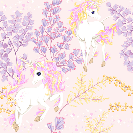 Seamless pattern, background with unicorn and vintage flowers. Vector illustration.