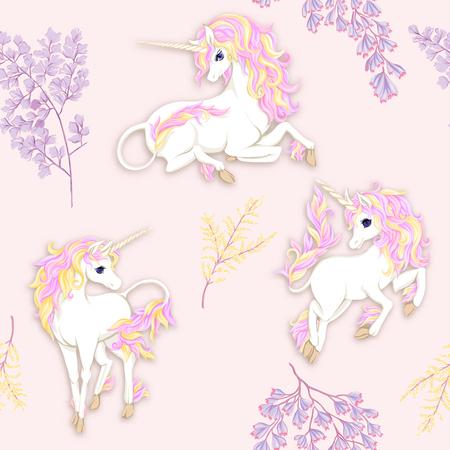 Patrón transparente, fondo con unicornio y flores vintage. Ilustración de vector.