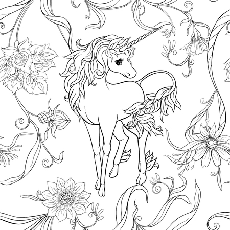 Seamless pattern, background with unicorn and vintage, fantsatic flowers In art nouveau style, vintage, old, retro style. Vector illustration. Outline hand drawing. Good for coloring page.