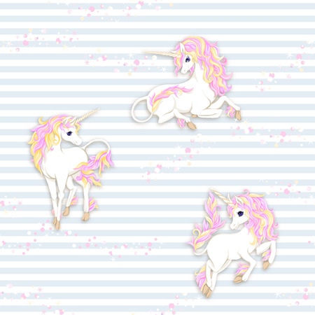 Seamless pattern, background with unicorn and glitter. Vector illustration. In soft pastel colors. On blue and white stripes background. Ilustração