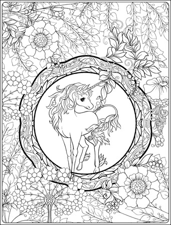 Unicorn and fantastic vintage frame and flowers. Vector illustration. In art nouveau style, vintage, old, retro style. Outline hand drawing. Good for coloring page for the adult coloring book.