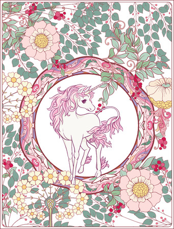 Unicorn and fantastic vintage flowers. Vector illustration. Illustration