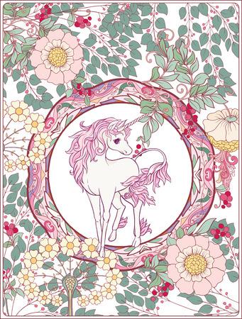 Unicorn and fantastic vintage flowers. Vector illustration. 일러스트