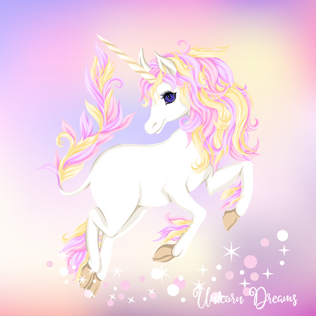 White unicorn with multycolor mane and shine stars