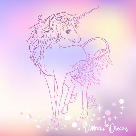 White unicorn with multycolor mane and shine stars