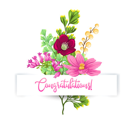 Greeting card with a bouquet of spring flowers and an inscription I congratulate under a paper tape. Vector illustration without gradients and transparency. Isolated on white background.