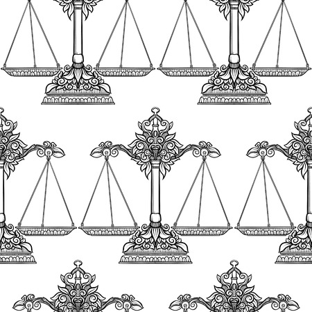 Seamless pattern, background with ethnic patterned ornate hand drawnweigher, scales, balance. Outline hand drawing. Can be used as coloring page for the adult coloring book.