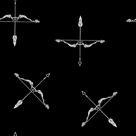 Seamless pattern, background with ethnic patterned ornate hand drawn bow and arrow Black-and-white graphics. White on black background. Ilustrace