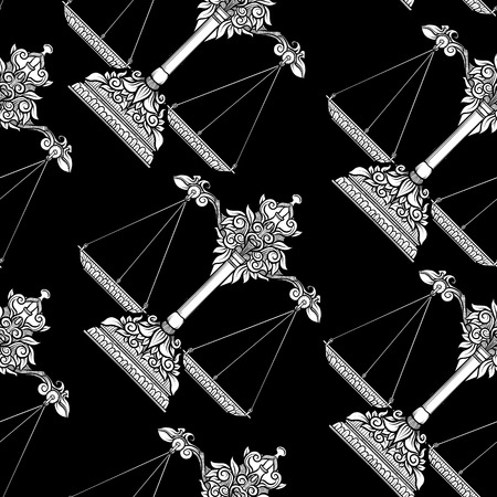 Seamless pattern, background with ethnic patterned ornate hand drawn weigher, scales, balance. Black-and-white graphics. White on black background.