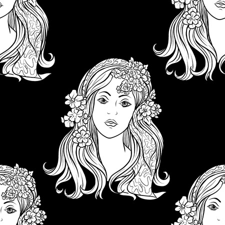 Seamless pattern, background with ethnic patterned ornate hand drawn Black-and-white graphics. White on black background.