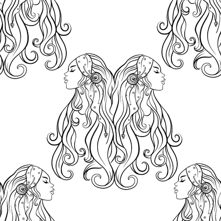 Seamless pattern, background with ethnic patterned ornate hand drawn portrait of young twins sisters. Outline hand drawing. Can be used as coloring page for the adult coloring book.