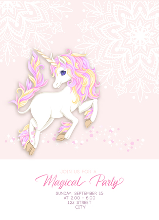 Template for invitation, greeting card banner with cute, kawaii unicorn with multi-colored mane, glitter, mandala pattern and place for text.